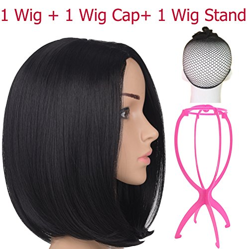"""Emmet Short Bob Wig 12"""" Shoulder Length Soft Silk Synthetic Kanekalon Dark Roots Ombre Color Women's Wigs with Free Wig Cap & Free Wig Stand Holder (Natural Black)"""
