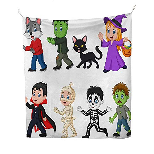 25 Home Decor Wall Tapestries Cartoon Happy Little Kids with Halloween Costume BTS Tapestries 54W x 84L -