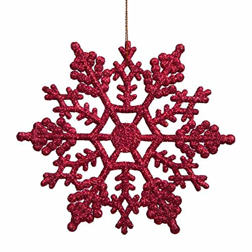 Northlight Club Pack of 24 Berry Red Glitter Snowflake Christmas Ornaments 3.75