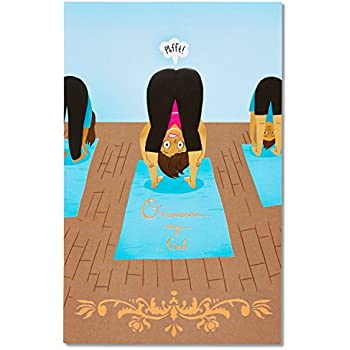 American Greetings Funny Yoga Ommmm Birthday Greeting Card With Embossing And Foil