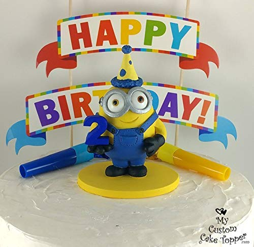 Fantastic Amazon Com Minion Birthday Cake Topper Happy Birthday Minion Funny Birthday Cards Online Fluifree Goldxyz