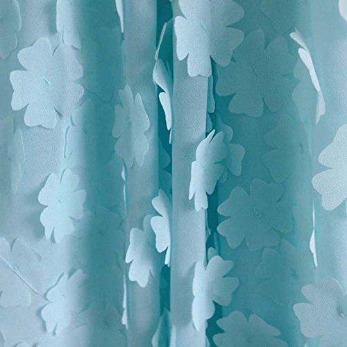 Pukido 1Yard 91130cm,Blue Chiffon Dress Fabric with Stretch,Soft Elastic Chiffon Embroidery,Wedding Rosette DIY Sewing Patchwork Cloth
