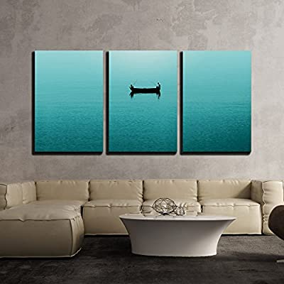 Top Quality Design, Dazzling Work of Art, Two Persons Fishing in a Boat on Blue Sea x3 Panels