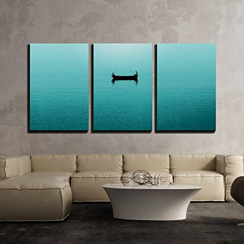Two Persons Fishing in a Boat on Blue Sea x3 Panels