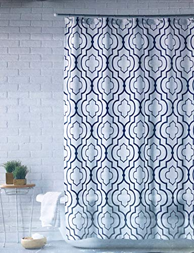 Mind on Design Fabric Shower Curtain Geometric Quatrefoil Lattice Grid Geo Pattern Navy Blue on White (Blue Navy Curtains Design White With)