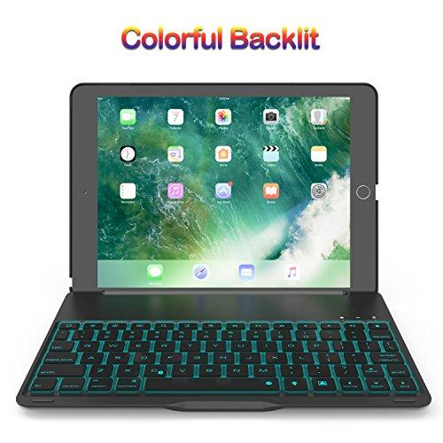 Keyboard Case for 2017 iPad 9.7 / iPad Air, Bluetooth Folio Hard Back Cover / Aluminum Keyboard base with Auto Sleep / Wake -Ultra Slim, 7 Colors Backlit (Black)
