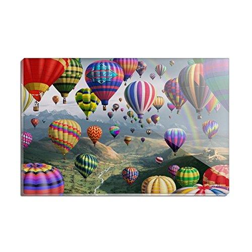 Hot Rectangle Magnet - Hot Air Balloons Sky Roads Rectangle Acrylic Fridge Refrigerator Magnet