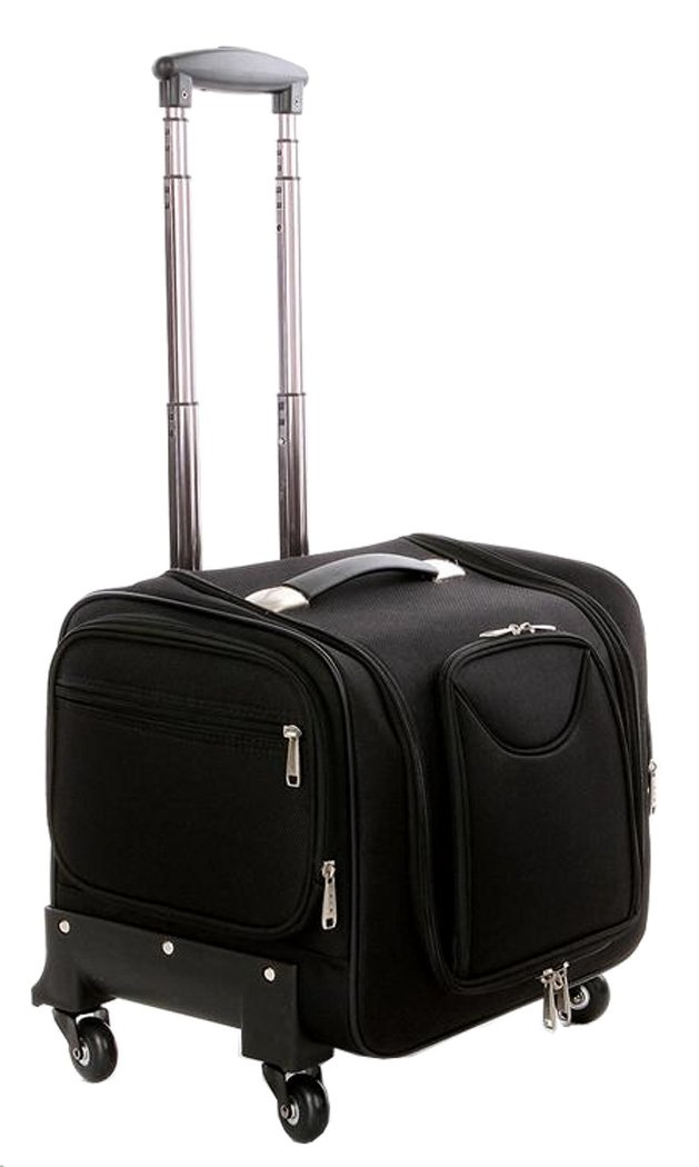 Douniushi Womens Oxford Fabric Cosmetic Luggage with Wheels - Black