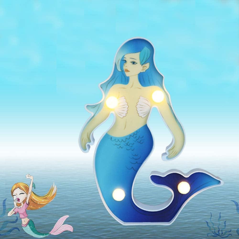 Vimlits Painted Mermaid Princess Lamp Fish Sea Ornaments Light Lamp child Bedroom Table Desk Nursery Colorful Cartoon Lamps Decoration Girls Gifts-Blue