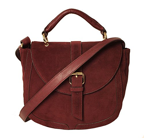 Crossbody Adjustable Black Burgundy Suede Women's Bag Faux Imoshion Satchel Flap Genuine Strap Closure Saddle Wide With Shoulder And Short With Handle Magnetic 0w6fxxqE