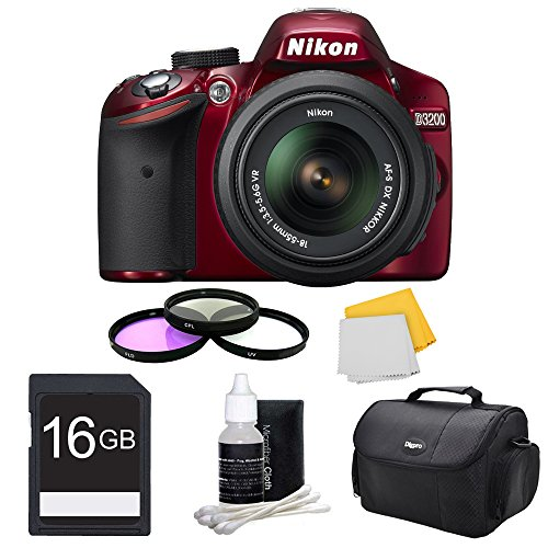 UPC 845251040272, Nikon D3200 DX-format Digital SLR Camera (Red) with 18-55mm DX VR Zoom Lens, 52mm Deluxe Filter Kit, Compact Deluxe Gadget Bag, 16GB Memory Card, 3 Piece Lens Cleaning Kit, and Micro Fiber Cloth