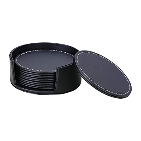 Amazon Com 6pcs Set Pu Leather Heat Resistance Placemat Cup Mats