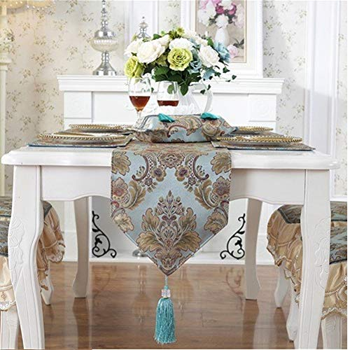 Minimal Life Modern Luxury Jacquard Damask Floral Table Runners Dresser Scarves with Multi-Tassels Table Runner (Blue-2, 13x89inch) ()