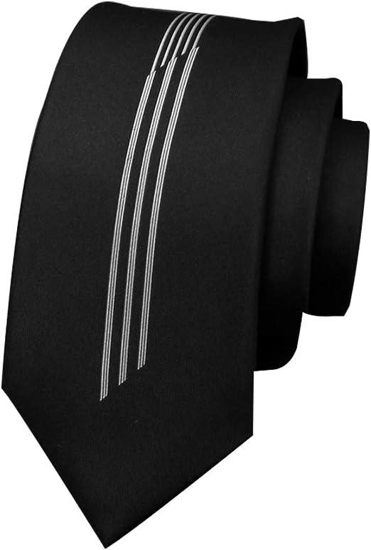 GuanBen Corbata Negra para Hombre y Clip para Corbata para Hombre ...