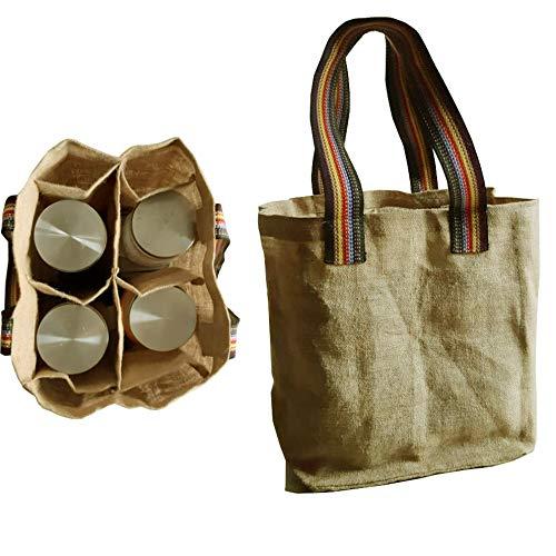 - KVR natural Jute burlap wine beer carrier bottle sturdy bag with option to use as lunch bag (4 Bottle Bag, Natural)