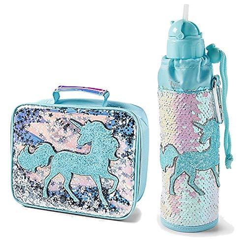 Justice Girls Lunch Tote Bag & Water Bottle Bundle (Flip Sequin Blue Unicorn)]()
