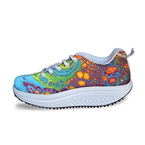 Uniek Platform Walking Sneaker Voor Dames Tienermeisjes Shape Ups Mesh Sleehakschoenen Work Out Pattern 5