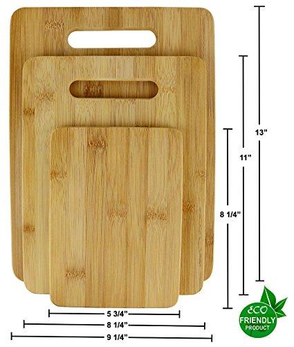 Kitchen Bamboo Wood Cutting Board Set Butcher Block