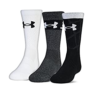 Under Armour Phenom Sc30 2.0 Crew Socks, 3 Pairs, Black Assorted, Youth Large