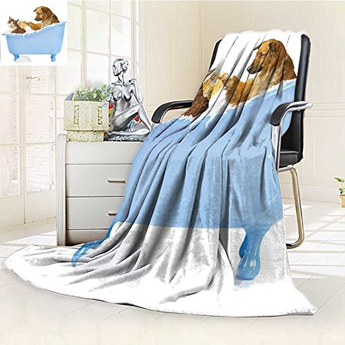 high-quality AmaPark Lightweight Blanket Dog and Kitty in the Bathtub Together with Bubbles Shampooing Digital Printing Blanket