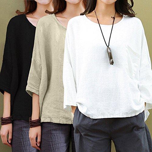 Algodón Oversize 3 Llanura Pullover Cuello Negro Holgado Lino T Camisetas Elegante Tops Manga 4 Mujer Yying shirt Redondo Loose qpvSZZ