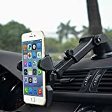 BluEye 360º Long Neck Car Mount Phone Holder With Adjustable Telescopic Arm For iPhone 7 Plus/7/6S Plus/6Plus/6S/6/5,Galaxy S7 Edge/S7/S6/S6 Edge/Note 5/4/3,Google Pixel/Pixel XL/Nexus 6/6P/5X