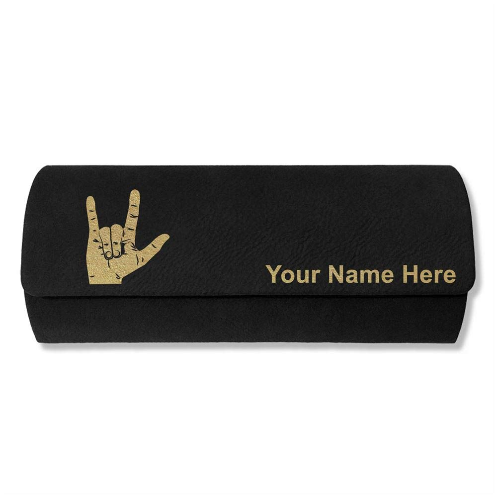 Sunglass Case, Sign Language I Love You, Personalized Engraving Included (Black) by SkunkWerkz (Image #1)