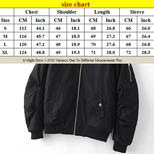 Mens Bomber Zipped Classico Coats Winter Outdoor Warm Jackets Padded Zhhlaixing Black EqSOwZ