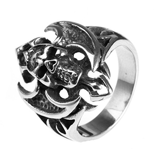 Skull Head Wings - Bishilin Jewelry Men's Rings Stainless Steel Skull Head with Wings Ring Silver Size 8