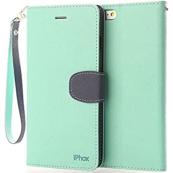 iPhone 6S Leather Case,iPhone 6 Leather Case, IPHOX Premium Folio Leather Wallet Case with [Kickstand] [Card Slots] [Magnetic Closure] [Hand Strap] Flip Notebook Cover Case for iPhone 6/6S (GR&BU/C)