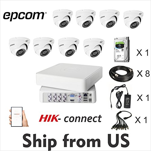 8CH HD Kit 1080p DVR,8 Cam Epcom Dome 2MP, 1TB HDD, 3A Power Supply, Cables