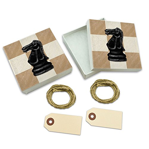 Black Knight Chess Set White Gift Boxes Set of 2