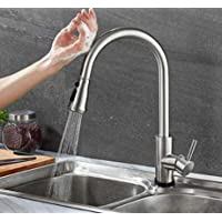 Automatic Sensor Touchless Water Faucet Stainless Steel Kitchen Sink Faucet Touch Activated Swivel Pull Down Sprayer, Single Handle For Automatic Motion Sensor, Brushed Nickel