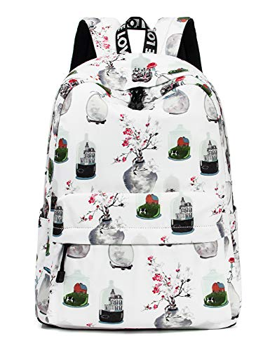 Floral Backpack for Girls, College Bookbag Travel Daypack Laptop Backpack by Leaper (White)
