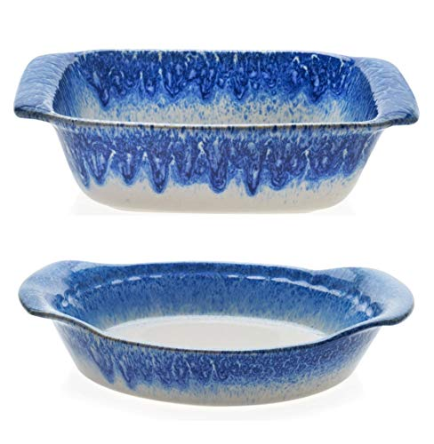 (Libbey Artisan Glazed Ceramic Stoneware Square Bake Dish Bundled with Pie Plate Baker Dish, Blue and Cream)