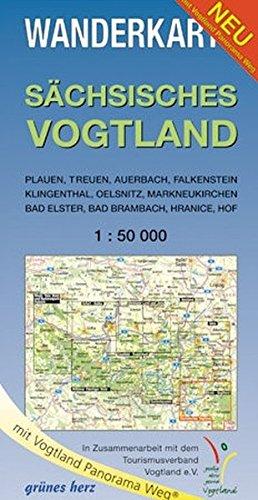 Wanderkarte Sächsisches Vogtland: Mit Plauen, Treuen, Auerbach, Falkenstein, Klingenthal, Oelsnitz, Markneukirchen, Bad Elster, Bad Brambach, Hranice, ... Maßstab 1:50.000. (Wanderkarten 1:50.000) Landkarte – Folded Map, 2. Oktober 2015 Lutz Gebhardt grüne