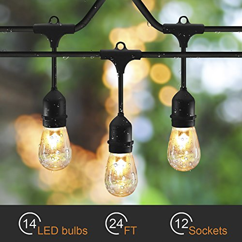 SUNTHIN Outdoor LED String Lights 24ft Long with Hanging Loops with 12 E26 Dropped Sockets - Included 12 Pieces of 0.7 Watt S14 LED Bulbs, Only 8.4 Watt in Total, ETL Approved, Outdoor and Indoor USE