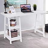 TANGKULA Computer Desk Writing Study Desk, Trestle Desk Laptop PC Desk, Modern Wood Vintage Style Reversible Storage Shelf, Home Office Furniture Sturdy Table Study Table