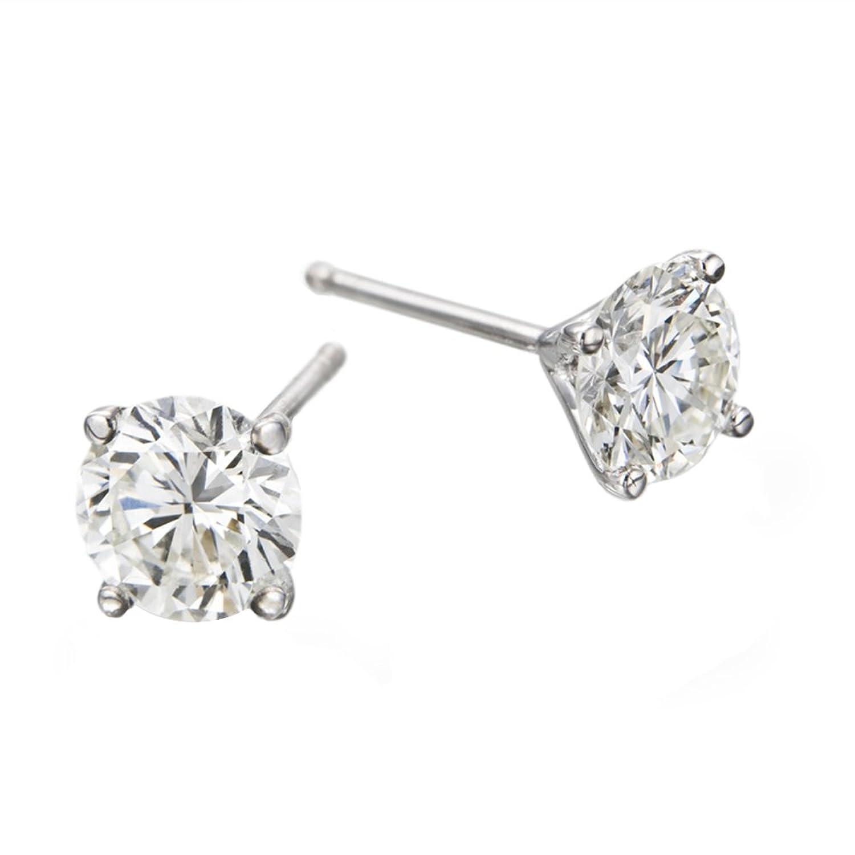 1.00 – 0.40 cttw IGI Certified Diamond Stud Earrings in 14K White Gold, Screwback (1.00-0.40 cttw, J-K Color, I1-I2 Clarity)
