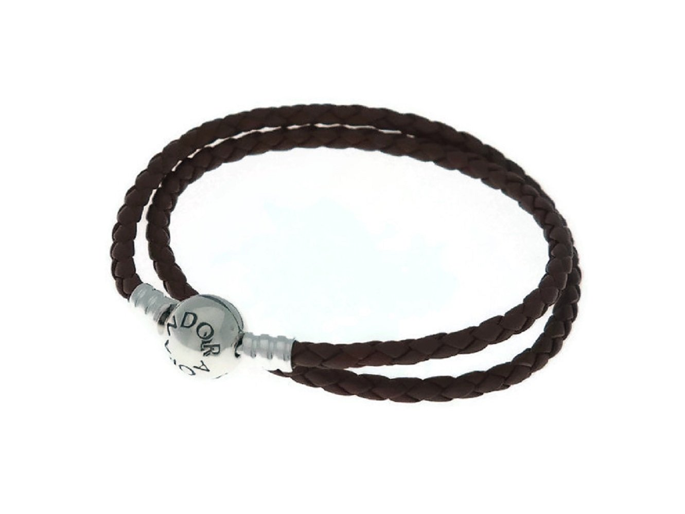 PANDORA Brown Braided-Double Leather Charm Bracelet, 590745CBN (15)