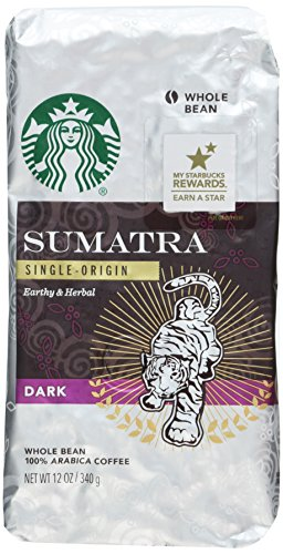 Starbucks Sumatra Coffee, Whole Bean, 12-Ounce Bags (Pack of 3)