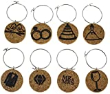 Cork Wine Glass Charms (20+ Unique Designs) - Set of 8 Wedding Themed Designs Including a Dress, Tux, Rings, Wine Glass, Diamond, Mr and Mrs, Cake, and Love Birds - Tags to Mark Your Drink (Wedding)