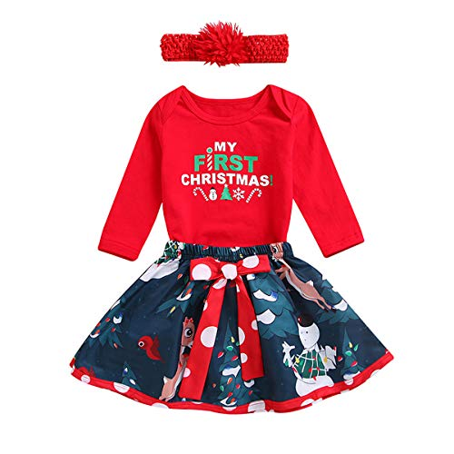 Christmas Themed Costumes (My First Christmas Holiday Newborn Baby Girl Outfit Romper Tutu Skirt Headband Costume Merry Xmas Gift Party 3PCS Set 0-3 Months My First Christmas &)