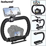 DSLR/Mirrorless/Action Camera Camcorder Phone Stabilizer 3-Shoe 2-Handed Vlog Video Holder Rig Low Position Shooting Steadycam Mount Detachable Grip Fit for GoPro Sony Canon Nikon DV iPhone Samsung
