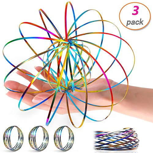 (3 Pack Flow Ring Arm Magic Spring Arm Flow Rings Sculpture Ring Game Toy Colored Magic Kinetic Spring Interactive Stress Relief Toy Festival Accessories)