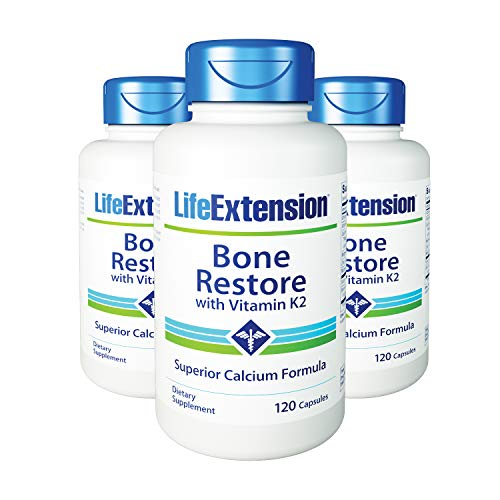 Life Extension Bone - Bone Restore with Vitamin K2 120 Capsules-Pack-3