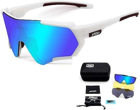 TOPTETN Gafas de Sol Deportivas polarizadas Protección UV400 Gafas de Ciclismo con 3 Lentes Intercambiables para Ciclismo, béisbol, Pesca, esquí, Funcionamiento (Blanco azul): Amazon.es: Deportes y aire libre