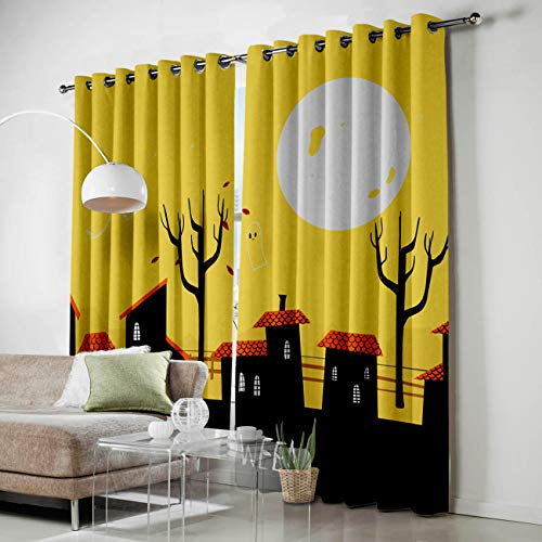 HomeCreator Window Blackout Curtains Halloween Ghost Town Curtains Darkening Thermal Insulated Curtains for Living Room Bedroom Window Drapes Set of 2 Panels-27.5