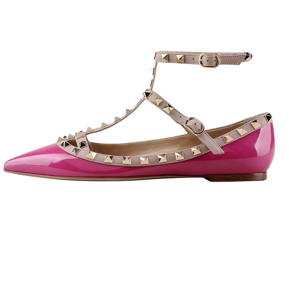 VOCOSI Women's Ankle Strap Studded Pointed Toe Pumps Rivets T-Strap Flat Pumps Dress B07B5WMT5Z 7.5 B(M) US|Rose(manmade Patent Leather With Gold Rivets)