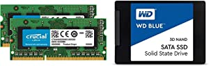 Crucial 16GB Kit (8GBx2) DDR3/DDR3L 1600 MT/S (PC3-12800) Unbuffered SODIMM 204-Pin Memory - CT2KIT102464BF160B & WD Blue 3D NAND 500GB Internal PC SSD - SATA III 6 Gb/s, 2.5%22/7mm, Up to 560 MB/s